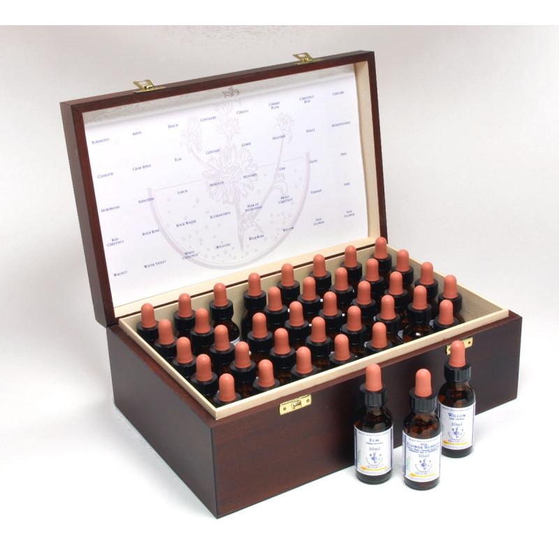 Baha ziedu esenču komplekts (30ml) + koka kaste