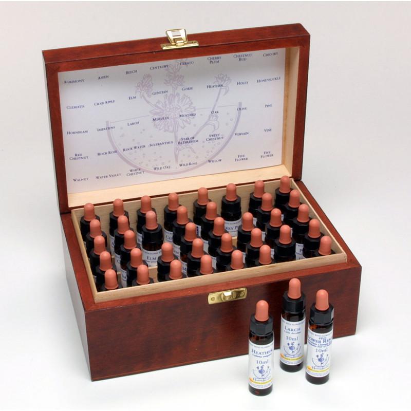 Baha ziedu esenču komplekts (10ml) + koka kaste
